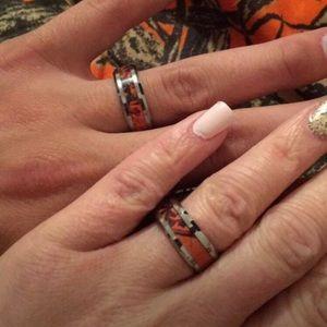 Orange camo his/her rings